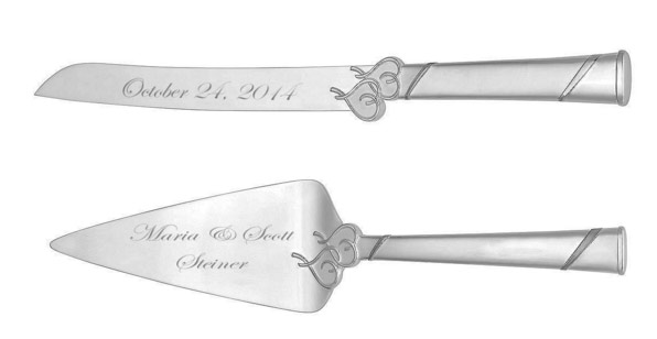 Personalized Wedding Cake Knife Server Set