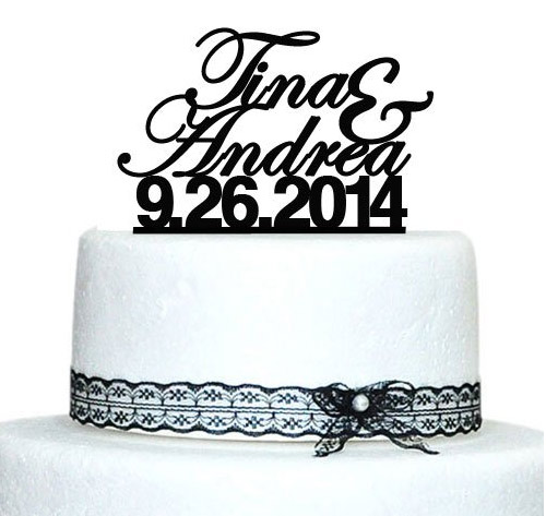 Personalized Wedding Cake Topper with Date and Name
