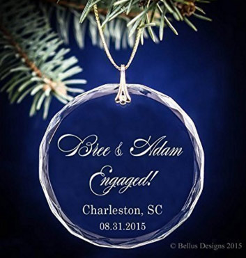 Round Engagement Ring Personalized Ornament