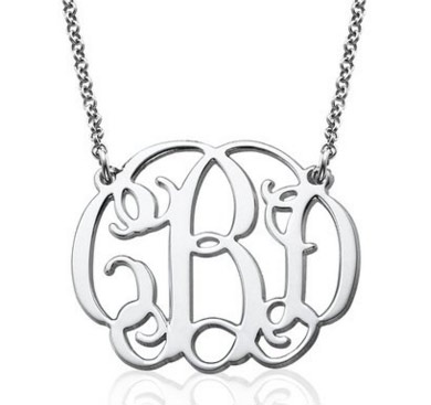 Monogrammed Silver Necklace