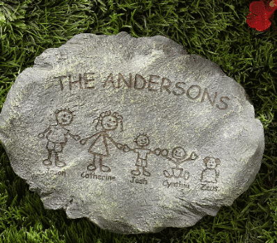 Stepping Stone with family cartoon character