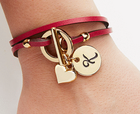 Raspberry Leather Wrap Personalized Charm Bracelet