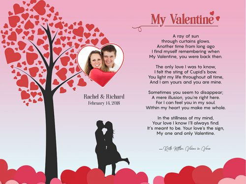 Valentine Heart Tree Art Poem Personalized Gift