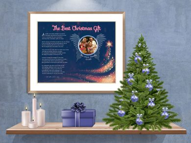 Blue Angel Wings with Tree Christmas Art Poem in Frame with Mat