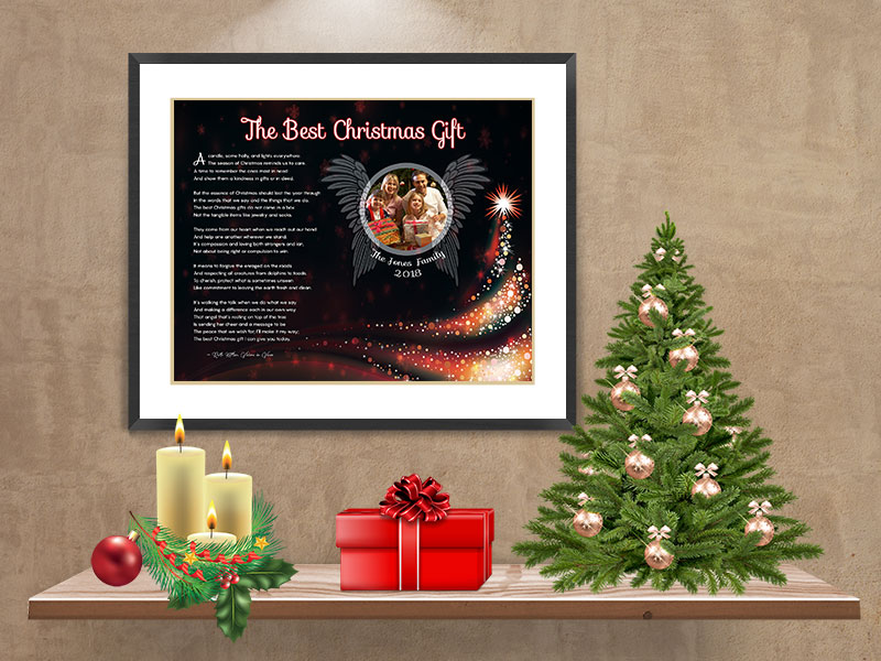 Black Angel Wings with Tree Personalized Christmas Art Poem Print Framed with Mat