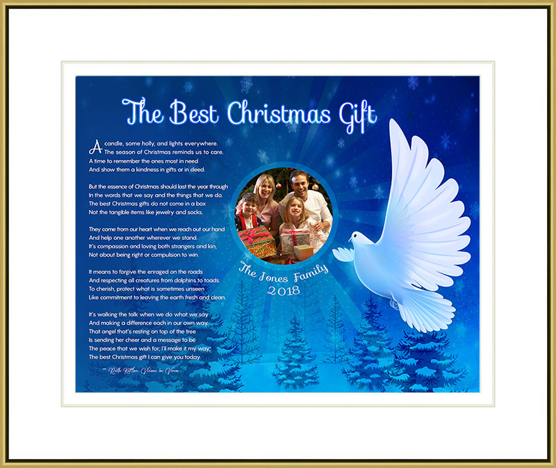 White Dover Christmas Art Poem in Gold Frame with Mat and 14 x 11 Artwork