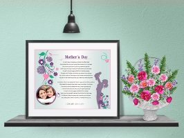 Floral Design Personalized Mother's Day Art Poem Print Framed with Mat
