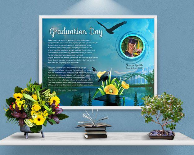 Mountain Bridge Personalized Graduation Art Poem Print Framed