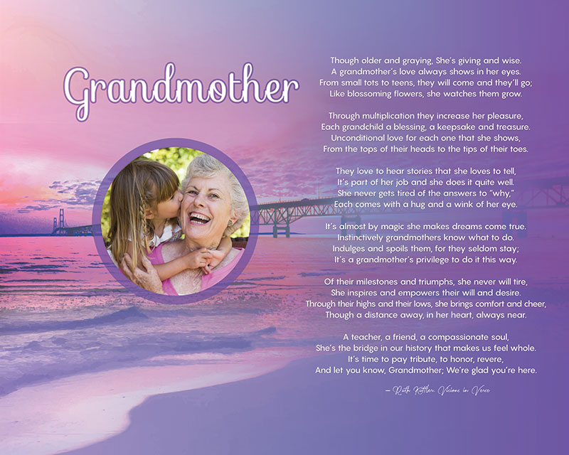 Sunset Beach Art Poem Grandmother Gift Personalized