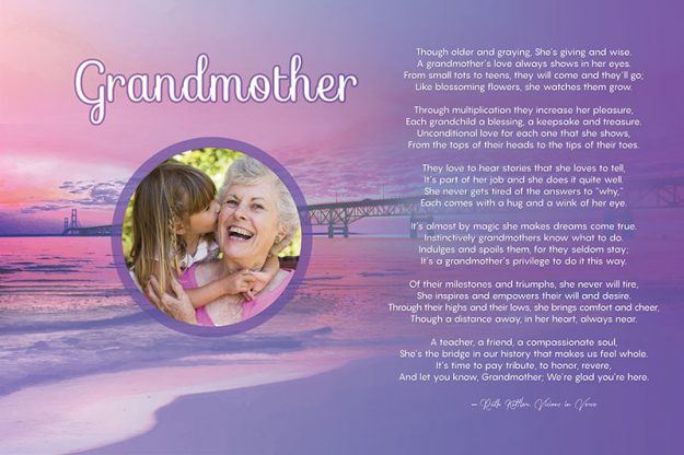 Poster 36 x 24 Grandmother Beach Art Poem Personalized