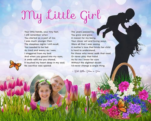 My Little Girl Original Art Poem Mother-Daughter Personalized Gift
