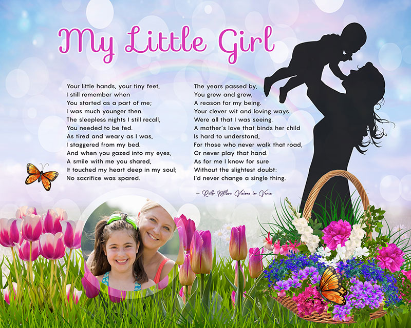 Spring Flowers Art Poem Mother Daughter Personalized Gift