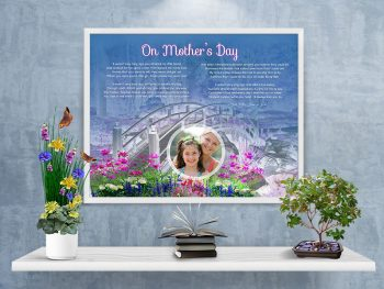 Mother's Day Bridge with Wildflowers Personalized Framed Art Poem on Wall