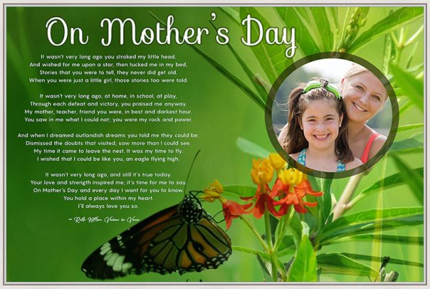 36 x 24 Butterfly with Green Foliage Personalized Mother's Day Art Poem Canvas Print in White Canvas Floater Frame