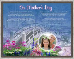 Bridge with Wildflowers Personalized Mother's Day Art Poem Canvas Print in Canvas Floater Frame