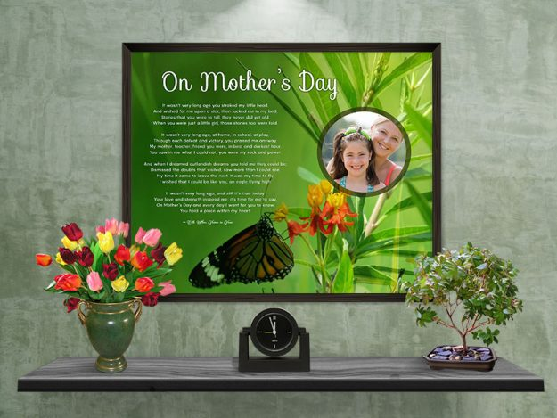 Mother's Day Butterfly with Green Foliage Personalized Framed Art Poem on Wall