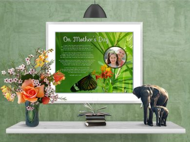 Mother's Day Butterfly Green Foliage in Frame with Mat on Wall