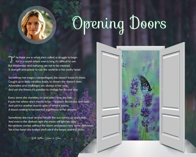 Opening Doors Purple Wildflowers Art Poem to Personalize