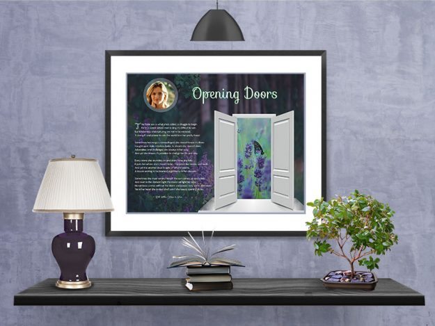 Opening Doors Purple Wildflowers in Frame with Mat on Wall