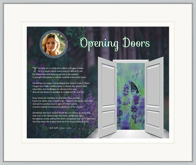 Opening Doors Wildflower Inspirational Art Poem in Silver Frame with Mat and 14 x 11 Artwork