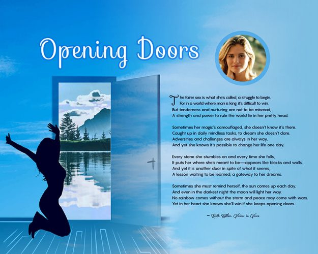 Opening Doors Blue Clouds Art Poem Personalized Inspirational Gift