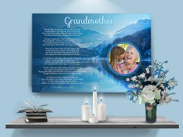 Mountain Scene Personalized Grandmother Art Poem Canvas Print with Canvas Gallery Wrapped Edge