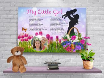 Poster Spring Flower Mother- Daughter Canvas Gallery Wrapped Art Poem