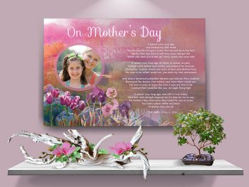 Poster Pink Bridge Floral Mother's Day Canvas Gallery Wrapped Art Poem