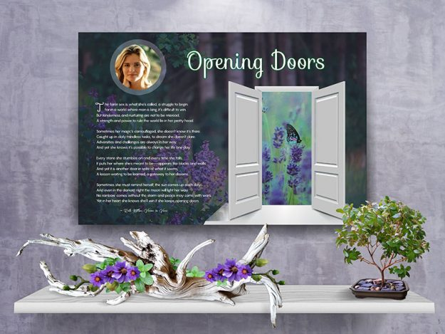 Poster Opening Doors Purple Wildflower Canvas Gallery Wrapped Art Poem
