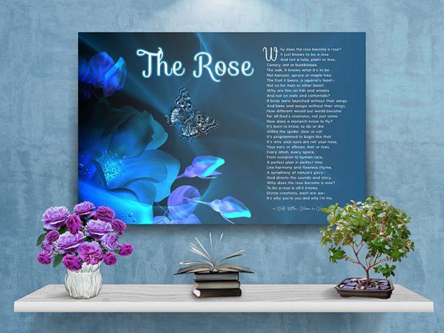 Poster Rose Blue Flower Design Canvas Gallery Wrapped Art Poem