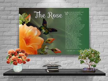 Poster Rose Peach Flower with Green Canvas Gallery Wrapped Art Poem