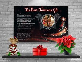 36 x 24 Black Angel Wings with Tree Personalized Christmas Art Poem Canvas Print with Gallery Wrapped Canvas Edge