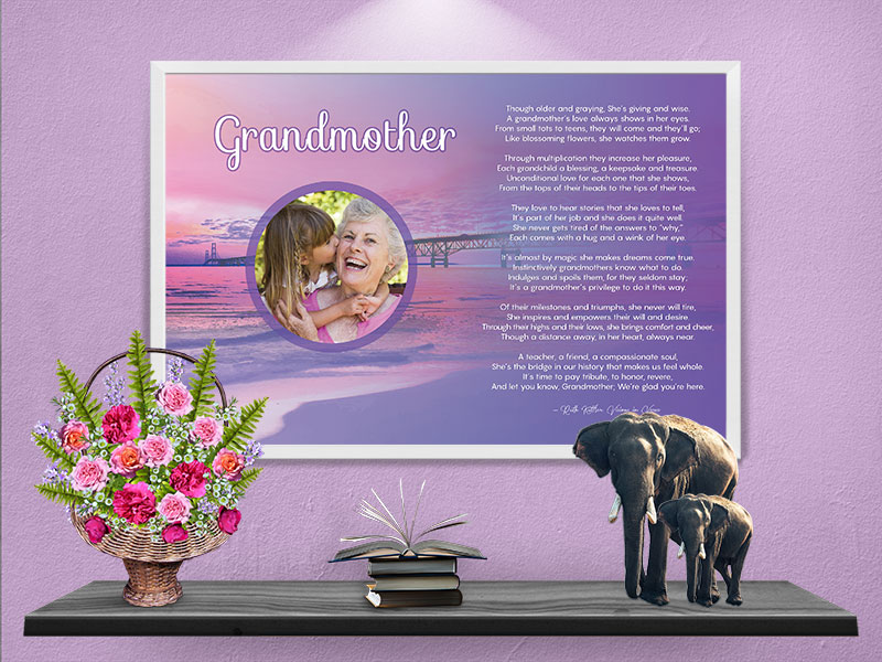 96d93f5a85 Poster Grandmother Sunset Beach Art Poem Print Framed