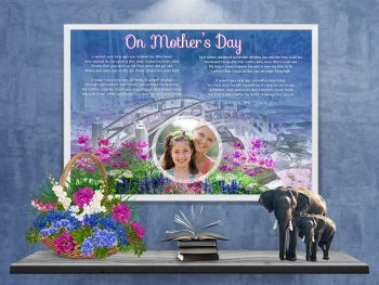 Poster Bridge with Wildflowers Mother's Day Art Poem Print Framed