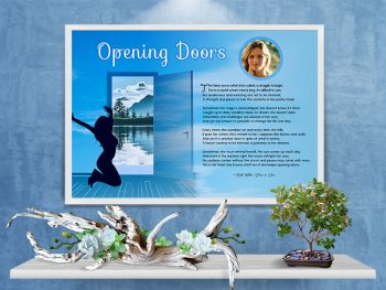 Poster Opening Doors Blue Sky Inspirational Art Poem Framed