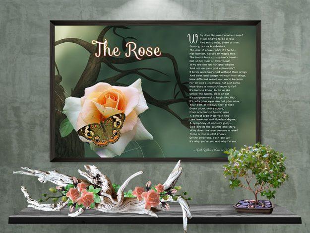 Poster Rose with Peach Flower on Tree Art Poem Print Framed