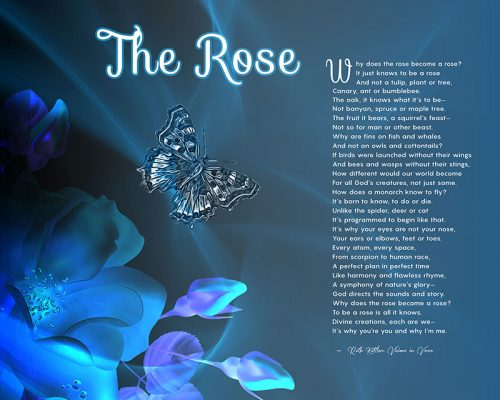 The Rose Blue Art Poem Spiritual Gift