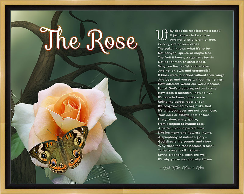 The Rose Tree Branch Art Poem in Gold and Black Canvas Frame with 14 x 11 Artwork