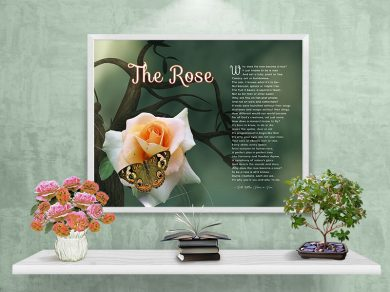 The Rose Green with Branch and Butterfly Framed Art Poem on Wall