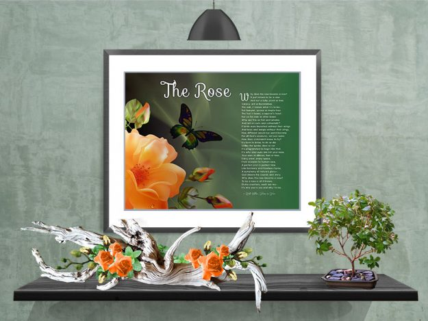 The Rose Peach Flower in Frame with Mat