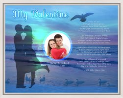 Sunset Beach Personalized Valentine Art Poem Canvas Print in White Canvas Floater Frame
