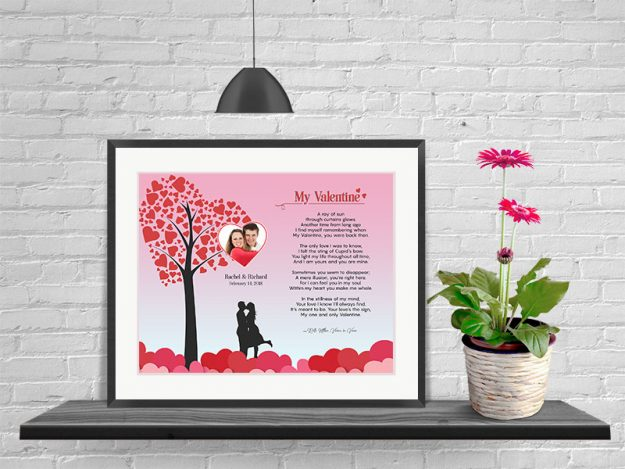 Heart Tree Personalized Valentine Art Poem Print in Frame with Mat
