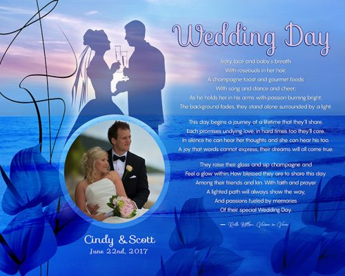 Personalized Wedding Sunset Beach with Cally Lilly Art Poem