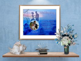 Sunset Beach with Cally Lilly Personalized Wedding Art Poem in Black Frame with Mat