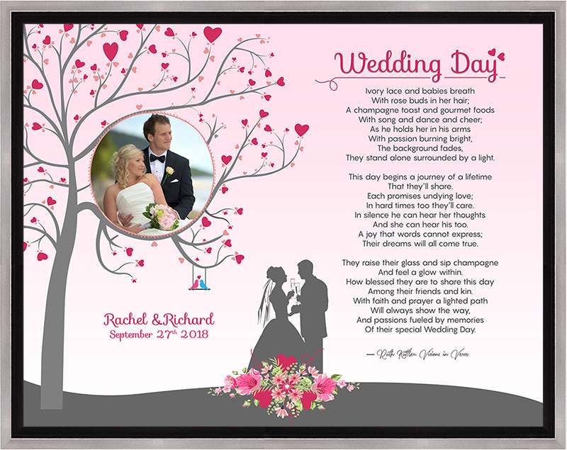 Wedding Heart Tree Art Poem in Silver and Black Canvas Frame with 14 x 11 Artwork