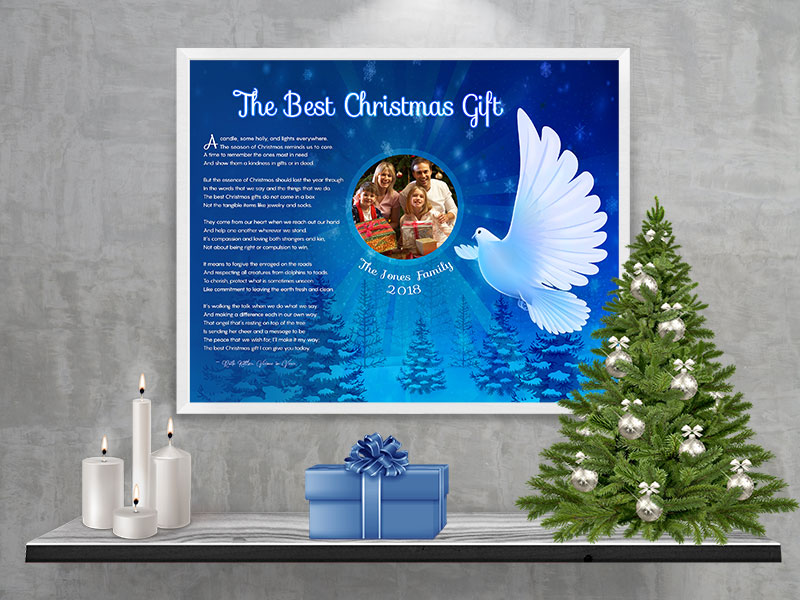 white dove art poem personalized christmas gift