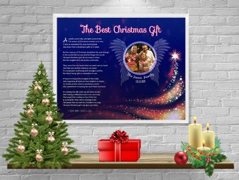 Christmas Royal Blue Angel Wings Personalized Framed Art Poem on Wall