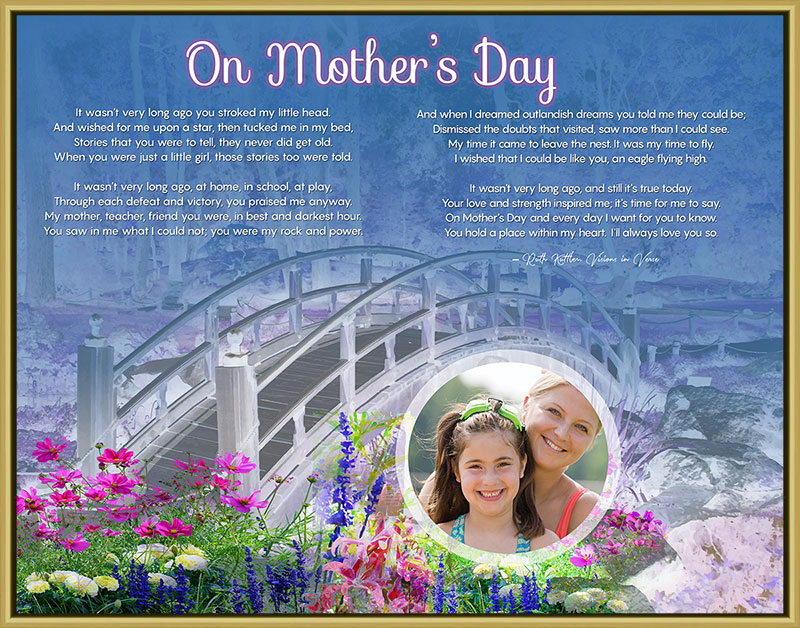 Mother's Day Bridge Wildflowers Art Poem in Gold Frame with 14 x 11 Artwork