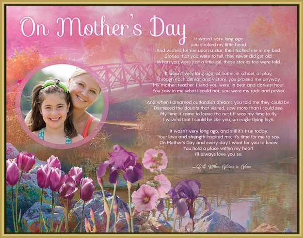 Pink Bridge with Flowers Personalized Mother's Day Art Poem Print in Gold Frame