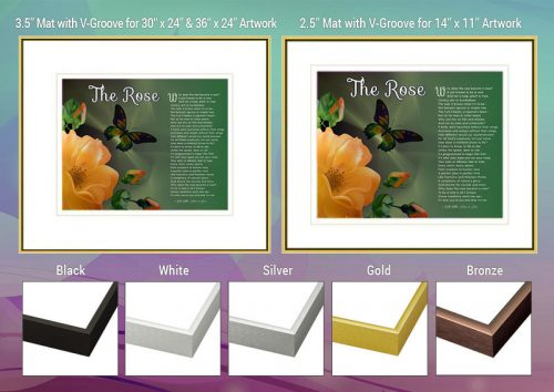 The Rose Peach Flower Spiritual Art Poem Frame and Mat Choices